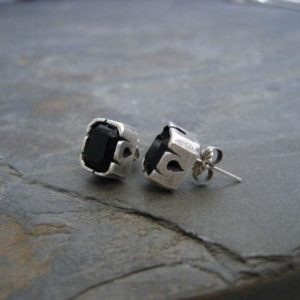 Shop Onyx Earrings! Black onyx studs, emerald cut, rectangle studs, silver and black, square studs, hand carved | Natural genuine Onyx earrings. Buy crystal jewelry, handmade handcrafted artisan jewelry for women.  Unique handmade gift ideas. #jewelry #beadedearrings #beadedjewelry #gift #shopping #handmadejewelry #fashion #style #product #earrings #affiliate #ad