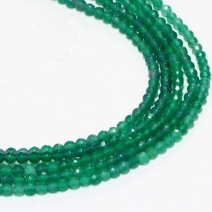 "Shop Onyx Faceted Beads! GU-0615-1 – Green Onyx Faceted Round Beads – Gemstone Beads – 4mm – Full 16"" Strand 