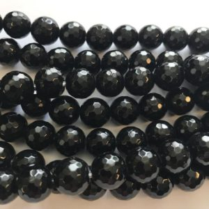 "Shop Onyx Faceted Beads! large hole 12mm faceted Round onyx Gemstone Beads–7.5""–1 strand/3 strands 