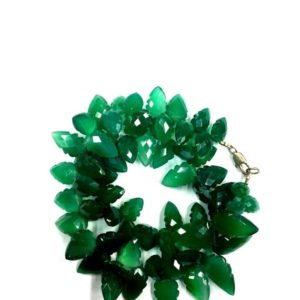 "Shop Onyx Faceted Beads! Natural Faceted 18"" Strand Green Onyx Carving Leaves Beads 9-10mm Gemstone Beads 