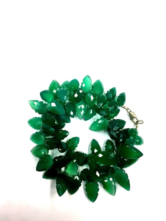 """Natural Faceted 18"""" Strand Green Onyx Carving Leaves Beads 9-10mm Gemstone Beads"""
