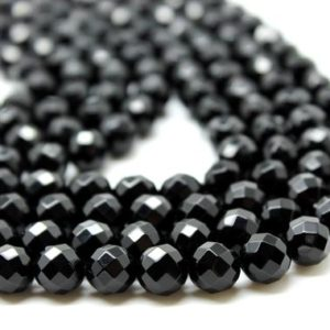 "Shop Onyx Faceted Beads! Round gemstone beads,black onyx beads,loose beads,loose gemstones,black beads,round faceted beads,faceted gems,AA Quality – 16"" Strand 