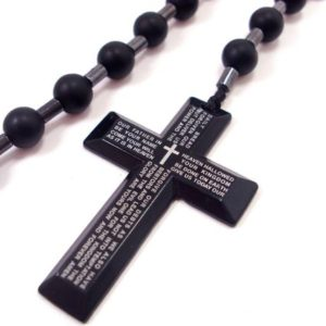 Shop Onyx Necklaces! Onyx Mens Rosary, Stainless Steel Cross Necklace for Men, Gemstone Rosary, Men Rosary Necklace, Mens Cross Necklace, Men Gemstone Necklace | Natural genuine Onyx necklaces. Buy handcrafted artisan men's jewelry, gifts for men.  Unique handmade mens fashion accessories. #jewelry #beadednecklaces #beadedjewelry #shopping #gift #handmadejewelry #necklaces #affiliate #ad