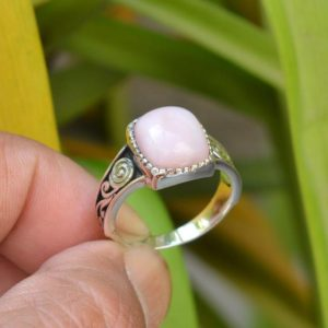 Shop Opal Rings! New Year Sale Pink Opal Ring, Oxidized Rings, 925 Silver Rings, 10×12 mm Square Pink Opal Ring, Gemstone Ring, Opal Silver Ring, Opal Ring   Natural genuine Opal rings, simple unique handcrafted gemstone rings. #rings #jewelry #shopping #gift #handmade #fashion #style #affiliate #ad