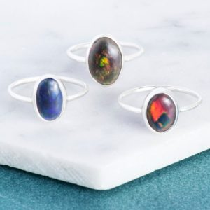 Shop Opal Rings! Silver Ring-Black Opal Ring-Gemstone Opal Ring-Ethiopian Opal-Rainbow Opal-October Birthstone Ring-Oval Black Opal Ring-Stacking Ring-925 | Natural genuine Opal rings, simple unique handcrafted gemstone rings. #rings #jewelry #shopping #gift #handmade #fashion #style #affiliate #ad