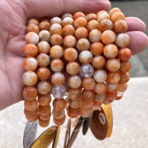 Shop Calcite Bracelets! Orange Calcite And Angel Aura Grounding Bracelet Ws6484 | Natural genuine Calcite bracelets. Buy crystal jewelry, handmade handcrafted artisan jewelry for women.  Unique handmade gift ideas. #jewelry #beadedbracelets #beadedjewelry #gift #shopping #handmadejewelry #fashion #style #product #bracelets #affiliate #ad