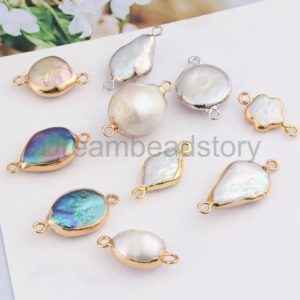 2-50 Pcs Natural Freshwater Pearl Flower/ Tear Drop/Oval/Coin Pendant Connector Beads for Jewelry Making ( 2 Loops Electroplated Gold Edge ) | Natural genuine Pearl pendants. Buy crystal jewelry, handmade handcrafted artisan jewelry for women.  Unique handmade gift ideas. #jewelry #beadedpendants #beadedjewelry #gift #shopping #handmadejewelry #fashion #style #product #pendants #affiliate #ad