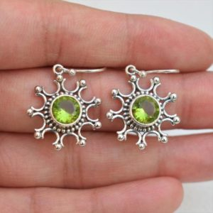 Shop Peridot Earrings! Natural Peridot Earrings-Handmade Silver Earrings-925 Sterling Silver Earrings-Round Peridot Earrings-Gift for her-Dangle Drop Earrings | Natural genuine Peridot earrings. Buy crystal jewelry, handmade handcrafted artisan jewelry for women.  Unique handmade gift ideas. #jewelry #beadedearrings #beadedjewelry #gift #shopping #handmadejewelry #fashion #style #product #earrings #affiliate #ad