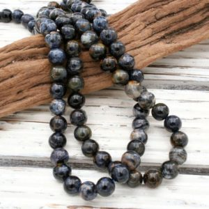 Shop Pietersite Necklaces! Pietersite round beads 8-8.5mm A Grade  (ETB01050)  Rare stone/Healing necklace/Vintage jewelry/Gemstone necklace | Natural genuine Pietersite necklaces. Buy crystal jewelry, handmade handcrafted artisan jewelry for women.  Unique handmade gift ideas. #jewelry #beadednecklaces #beadedjewelry #gift #shopping #handmadejewelry #fashion #style #product #necklaces #affiliate #ad