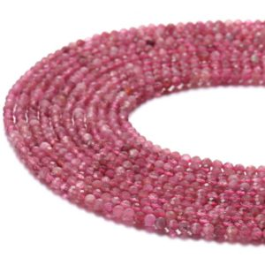 "Natural Pink Tourmaline Faceted Round Beads 2mm 3mm 4mm 5mm 15.5"" Strand 