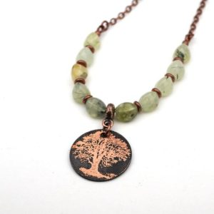 Shop Prehnite Necklaces! Copper Tree Necklace With Green And Black Prehnite Beads, Etched Metal, 21 1 / 4 Inches Long | Natural genuine Prehnite necklaces. Buy crystal jewelry, handmade handcrafted artisan jewelry for women.  Unique handmade gift ideas. #jewelry #beadednecklaces #beadedjewelry #gift #shopping #handmadejewelry #fashion #style #product #necklaces #affiliate #ad