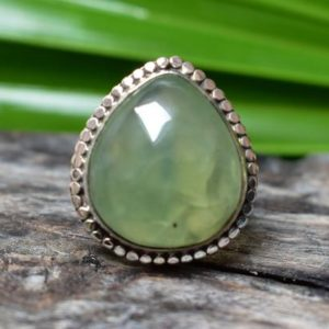 Shop Prehnite Rings! 925 silver natural prehnite ring-green prehnite ring-silver ring-ring for women-prehnite ring | Natural genuine Prehnite rings, simple unique handcrafted gemstone rings. #rings #jewelry #shopping #gift #handmade #fashion #style #affiliate #ad