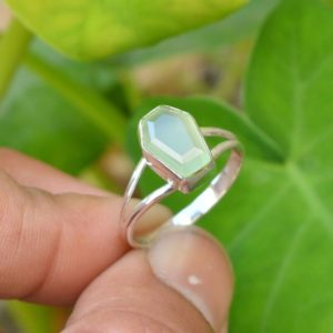 Shop Prehnite Rings! Coffin Ring, Prehnite Chalcedony Ring, Gemstone Ring, 7×10 mm Coffin Prehnite Chalcedony Ring, Green Prehnite Ring, Prehnite Silver Ring | Natural genuine Prehnite rings, simple unique handcrafted gemstone rings. #rings #jewelry #shopping #gift #handmade #fashion #style #affiliate #ad