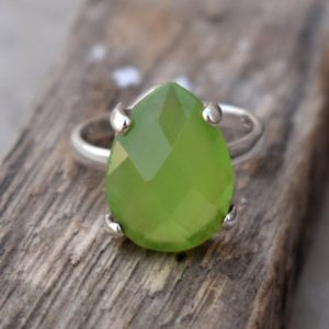 Shop Prehnite Rings! Prong Set Prehnite Ring, unique Gift, prehnite Ring.solid 925 Sterling Silver Prong Ring, green Gemstone Ring, handmade Jewelry, gift For Her | Natural genuine Prehnite rings, simple unique handcrafted gemstone rings. #rings #jewelry #shopping #gift #handmade #fashion #style #affiliate #ad