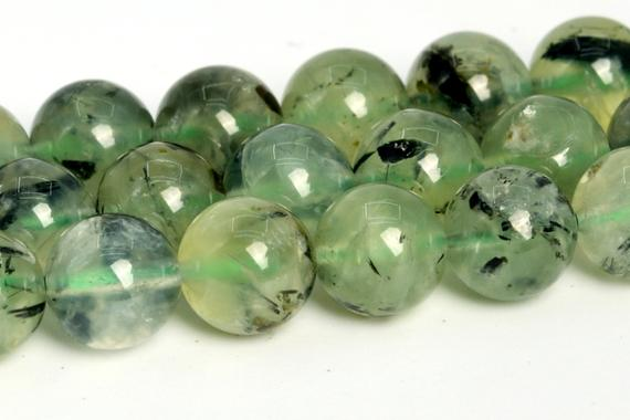 "9-10mm Epidote In Prehnite Beads Grade Aa Genuine Natural Gemstone Round Loose Beads 15"" / 7.5"" Bulk Lot Options (108762)"