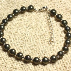 Shop Pyrite Bracelets! Bracelet 925 sterling silver and stone – Golden Pyrite 6mm | Natural genuine Pyrite bracelets. Buy crystal jewelry, handmade handcrafted artisan jewelry for women.  Unique handmade gift ideas. #jewelry #beadedbracelets #beadedjewelry #gift #shopping #handmadejewelry #fashion #style #product #bracelets #affiliate #ad