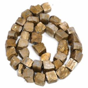 Shop Pyrite Chip & Nugget Beads! 10MM Titanium Gold Pyrite Gemstone Rugged Nugget Cube Loose Beads 7.5 inch Half Strand (80004145-B112) | Natural genuine chip Pyrite beads for beading and jewelry making.  #jewelry #beads #beadedjewelry #diyjewelry #jewelrymaking #beadstore #beading #affiliate #ad