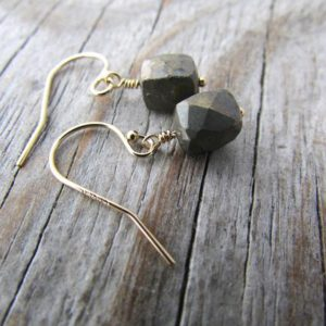 Shop Pyrite Earrings! Pyrite Earrings, small, faceted, gemstone cubes, earrings, simple dangle earrings | Natural genuine Pyrite earrings. Buy crystal jewelry, handmade handcrafted artisan jewelry for women.  Unique handmade gift ideas. #jewelry #beadedearrings #beadedjewelry #gift #shopping #handmadejewelry #fashion #style #product #earrings #affiliate #ad