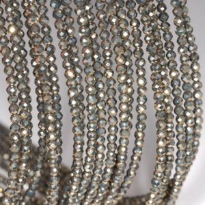 Shop Pyrite Beads! 3mm Iron Pyrite Gemstone Grade AAA Micro Faceted Fine Round 3mm Loose Beads 15.5 inch Full Strand (90190667-147) | Natural genuine beads Pyrite beads for beading and jewelry making.  #jewelry #beads #beadedjewelry #diyjewelry #jewelrymaking #beadstore #beading #affiliate #ad