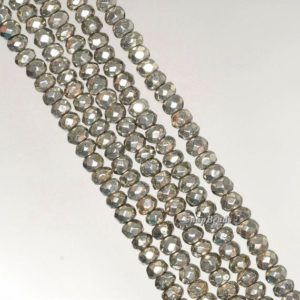 Shop Pyrite Faceted Beads! 4x3mm Iron Pyrite Gemstone Grade AA Faceted Rondelle Loose Beads 15.5 inch Full Strand (90190672-137) | Natural genuine faceted Pyrite beads for beading and jewelry making.  #jewelry #beads #beadedjewelry #diyjewelry #jewelrymaking #beadstore #beading #affiliate #ad