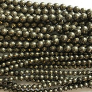 Shop Pyrite Faceted Beads! pyrite 6mm 8mm 10mm faceted round gemstone Bead -15 inch strand | Natural genuine faceted Pyrite beads for beading and jewelry making.  #jewelry #beads #beadedjewelry #diyjewelry #jewelrymaking #beadstore #beading #affiliate #ad