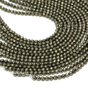 """Shop Pyrite Faceted Beads! GU-6092-2 – A Grade Pyrite Faceted Rounds – 64 Facetes – 6mm – Gemstone Beads – 16"""" Full Strand 