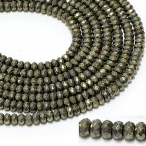"""Shop Pyrite Faceted Beads! GU6089-2 – A Grade Pyrite Faceted Rondelles – 5x8mm – Gemstone Beads – 16"""" Full Strand 