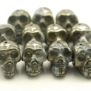 Shop Pyrite Bead Shapes! 18x14mm Iron Pyrite Gemstone Skull Head 18x14mm Loose Beads 6 Beads (90189051-353) | Natural genuine other-shape Pyrite beads for beading and jewelry making.  #jewelry #beads #beadedjewelry #diyjewelry #jewelrymaking #beadstore #beading #affiliate #ad