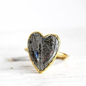 Shop Pyrite Rings! Pyrite Ring – Size 7 3/4 – Natural Pyrite – Gold and Pyrite Ring – Stone Heart | Natural genuine Pyrite rings, simple unique handcrafted gemstone rings. #rings #jewelry #shopping #gift #handmade #fashion #style #affiliate #ad