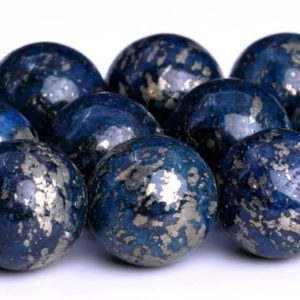 "Shop Pyrite Beads! 12MM Deep Blue Pyrite Beads Grade AAA Natural Gemstone  Round Loose Beads 15.5""/ 7.5"" Bulk Lot Options (104158) 