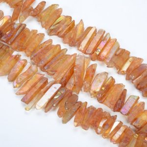 Shop Quartz Chip & Nugget Beads! 15.9 Inch Natural Electroplating Orange Crystal Quartz Point,  Top Class Gem Crystal Handiwork Cut Crystal Quartz Raw Materials | Natural genuine chip Quartz beads for beading and jewelry making.  #jewelry #beads #beadedjewelry #diyjewelry #jewelrymaking #beadstore #beading #affiliate #ad