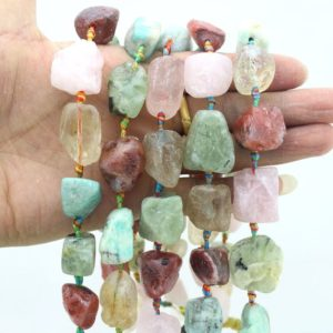 Shop Quartz Crystal Beads! Chunky Rock Quartz Nugget Beads ,Large stone beads ,Rough Multi color Gemstone Stone beads,Loose stone  strand, semiprecious stone  –JS005 | Natural genuine beads Quartz beads for beading and jewelry making.  #jewelry #beads #beadedjewelry #diyjewelry #jewelrymaking #beadstore #beading #affiliate #ad