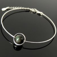 Rainbow Black Obsidian Gemstone Handmade Adjustable Wire Bracelet Saturn Swivel Ring Nickel Lead Free Sterling Silver Parts Made In Italy | Natural genuine Gemstone jewelry. Buy crystal jewelry, handmade handcrafted artisan jewelry for women.  Unique handmade gift ideas. #jewelry #beadedjewelry #beadedjewelry #gift #shopping #handmadejewelry #fashion #style #product #jewelry #affiliate #ad