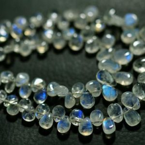 """Shop Rainbow Moonstone Bead Shapes! 7"""" Strand Natural AA Rainbow Moonstone Beads 4x5mm to 10x14mm Smooth Pear Briolettes Gemstone Beads Blue Fire Moonstone Briolettes No3822 