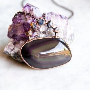 Shop Rainbow Obsidian Necklaces! Rainbow Obsidian And Sapphire Necklace | Natural genuine Rainbow Obsidian necklaces. Buy crystal jewelry, handmade handcrafted artisan jewelry for women.  Unique handmade gift ideas. #jewelry #beadednecklaces #beadedjewelry #gift #shopping #handmadejewelry #fashion #style #product #necklaces #affiliate #ad