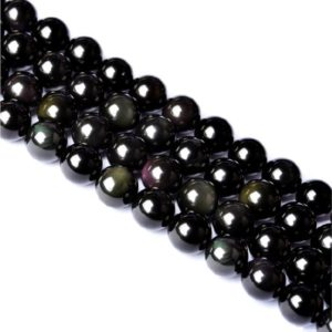 Shop Rainbow Obsidian Beads! Rainbow Obsidian Beads, Natural Black Round Obsidian Beads with Double Rainbow Eye, 6mm-16mm DIY Black Stone Beads Supplies(HYS1) | Natural genuine round Rainbow Obsidian beads for beading and jewelry making.  #jewelry #beads #beadedjewelry #diyjewelry #jewelrymaking #beadstore #beading #affiliate #ad