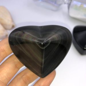 Rainbow Obsidian Carved Hearts — Highly polished A grade obsidian Gemstone Crystal | Natural genuine stones & crystals in various shapes & sizes. Buy raw cut, tumbled, or polished gemstones for making jewelry or crystal healing energy vibration raising reiki stones. #crystals #gemstones #crystalhealing #crystalsandgemstones #energyhealing #affiliate #ad