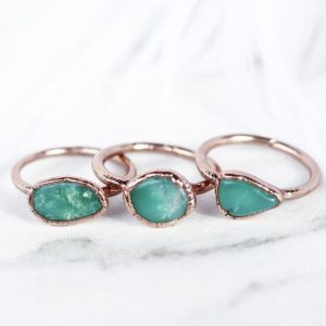Raw Chrysoprase Ring, Chrysoprase Raw Stone, Chrysoprase Crystal Ring, Raw Gemstone Ring, Smooth Crystal Ring, Raw Gemstone Jewelry | Natural genuine Chrysoprase rings, simple unique handcrafted gemstone rings. #rings #jewelry #shopping #gift #handmade #fashion #style #affiliate #ad