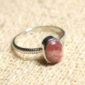 Shop Rhodochrosite Jewelry! N225 – 925 sterling silver and semi precious gemstone – oval 8x6mm Rhodochrosite stone ring | Natural genuine Rhodochrosite jewelry. Buy crystal jewelry, handmade handcrafted artisan jewelry for women.  Unique handmade gift ideas. #jewelry #beadedjewelry #beadedjewelry #gift #shopping #handmadejewelry #fashion #style #product #jewelry #affiliate #ad