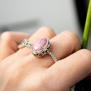 Shop Rhodochrosite Jewelry! Rhodochrosite Ring, Sterling Silver Ring, Rhodochrosite Jewelry, Dainty Rings, Boho Ring, Promise Ring, Natural Pale Pink Stone Ring | Natural genuine Rhodochrosite jewelry. Buy crystal jewelry, handmade handcrafted artisan jewelry for women.  Unique handmade gift ideas. #jewelry #beadedjewelry #beadedjewelry #gift #shopping #handmadejewelry #fashion #style #product #jewelry #affiliate #ad