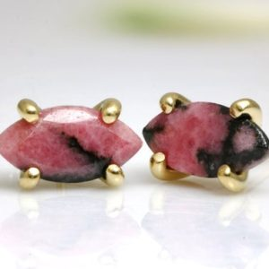 Gold earrings,Rhodonite earrings,marquise earrings,post earrings,custom fashion earrings,bridal earrings,pink earrings,gemstone earrings | Natural genuine Gemstone earrings. Buy handcrafted artisan wedding jewelry.  Unique handmade bridal jewelry gift ideas. #jewelry #beadedearrings #gift #crystaljewelry #shopping #handmadejewelry #wedding #bridal #earrings #affiliate #ad