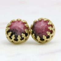 Rhodonite Earrings, round Gemstone Earrings, gold Post Earrings, stud Earrings Gold, handmade Earrings, handcrafted Earrings | Natural genuine Gemstone jewelry. Buy crystal jewelry, handmade handcrafted artisan jewelry for women.  Unique handmade gift ideas. #jewelry #beadedjewelry #beadedjewelry #gift #shopping #handmadejewelry #fashion #style #product #jewelry #affiliate #ad