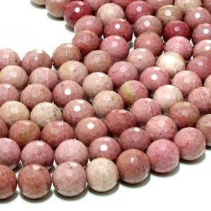 """Shop Rhodonite Beads! Extra large Rhodonite beads,14mm round beads,gemstone beads,natural beads,wholesale beads,bulk strand beads,faceted round beads – 16"""" Strand 