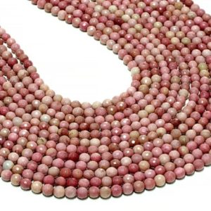 """Shop Rhodonite Faceted Beads! Round Rhodonite beads,faceted beads,gemstone beads,loose beads,natural beads,Pink beads,diy supplies,jewelry making – 16"""" Strand 
