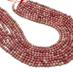 """Shop Rhodonite Faceted Beads! Round faceted Rhodonite beads,natural beads,semiprecious beads,pink beads,faceted beads,gemstone beads,jewelry supplies – 16"""" Strand 