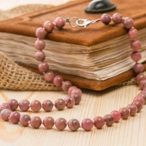 Rhodonite necklace Gemstone necklace Rhodonite jewelry Pink beads necklace Grandma gift for her Fertility necklace Stones jewelry for women | Natural genuine Rhodonite necklaces. Buy crystal jewelry, handmade handcrafted artisan jewelry for women.  Unique handmade gift ideas. #jewelry #beadednecklaces #beadedjewelry #gift #shopping #handmadejewelry #fashion #style #product #necklaces #affiliate #ad