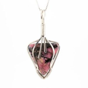 Shop Rhodonite Pendants! Pink Stone Pendant – Pink Rhodonite Necklace – Sterling Wire Wrapped Pendant – Pink And Black Jewelry – Rhodonite Pendant – Pink Stone | Natural genuine Rhodonite pendants. Buy crystal jewelry, handmade handcrafted artisan jewelry for women.  Unique handmade gift ideas. #jewelry #beadedpendants #beadedjewelry #gift #shopping #handmadejewelry #fashion #style #product #pendants #affiliate #ad