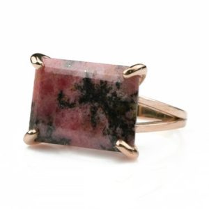 Shop Rhodonite Jewelry! Pink Rhodonite ring,gemstone rings for women,rose gold wedding ring,pink stone ring,statement ring,stone rings for women,handmade rings | Natural genuine Rhodonite jewelry. Buy handcrafted artisan wedding jewelry.  Unique handmade bridal jewelry gift ideas. #jewelry #beadedjewelry #gift #crystaljewelry #shopping #handmadejewelry #wedding #bridal #jewelry #affiliate #ad