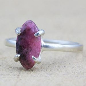 Shop Rhodonite Rings! silver rhodonite ring,gemstone prong ring,marquise shape ring,sterling silver rings,gemstone rings,stackable ring | Natural genuine Rhodonite rings, simple unique handcrafted gemstone rings. #rings #jewelry #shopping #gift #handmade #fashion #style #affiliate #ad