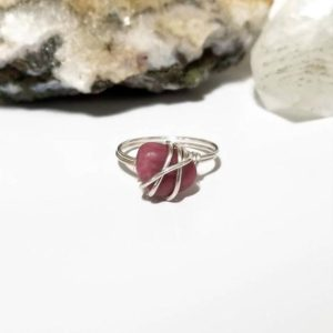 Shop Rhodonite Rings! Rhodonite Ring, Silver Wire Wrapped Ring | Natural genuine Rhodonite rings, simple unique handcrafted gemstone rings. #rings #jewelry #shopping #gift #handmade #fashion #style #affiliate #ad